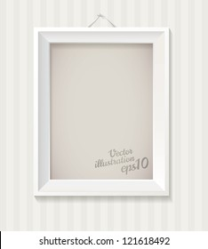 White empty frame hanging on the wall. Vector illustration eps 10