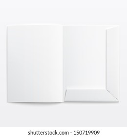 White empty open folder on gray background with soft shadows. Vector illustration. EPS10.