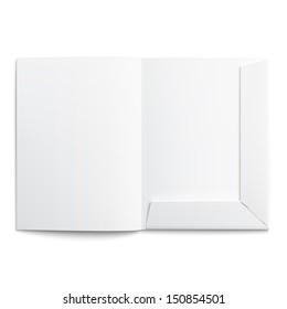 White empty open folder on white background with soft shadows. Vector illustration. EPS10.