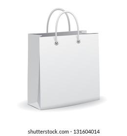 White empty paper shopping bag, vector
