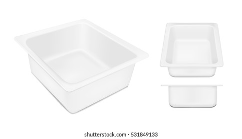 White empty plastic container for cheese. Packaging for meat, fish and vegetables.