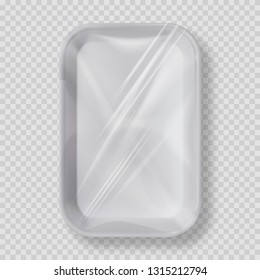 White empty plastic container for food. Layout of food plastic container for meat, fish and vegetables. White fast food fox container packaging. Disposable plastic box for package design top view