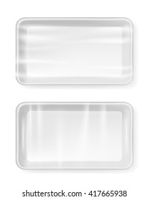 White empty plastic container for food. Packaging for meat, fish and vegetables.?