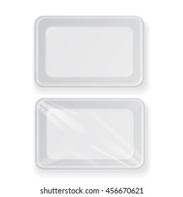 White empty plastic food container . Packaging for meat, fish and vegetables