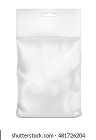 White empty plastic packaging. Blank sachet with hang slot.