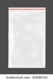 White empty plastic packaging with zipper.