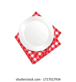 The white, empty plate on checkered tablecloth vector.