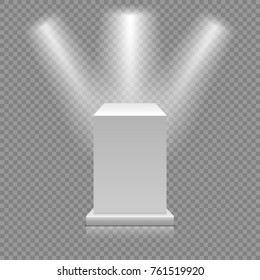 White empty podium isolated on transparent background. Museum pedestal with spotlights. 3d Vector illustration