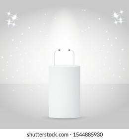 White empty podium tribune for public speech with microphones vector illustration.