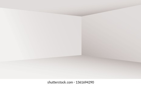 White empty room concept, vector illustration. Perspective floor, celling and walls with corners, minimal blank inside interior.
