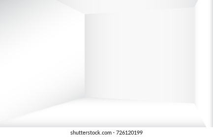 White empty room concept, vector illustration. Perspective floor, celling and walls with corners, blank inside interior.