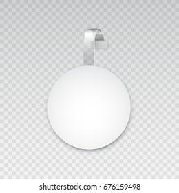 White empty round paper banner, vector wobbler illustration with transparent elements
