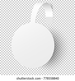 White empty round self adhesive supermarket shelf paper wobbler isolated on transparent background. Template vector design.