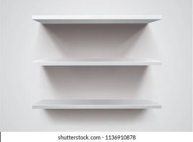 White empty shelf on white wall. Vector mockup