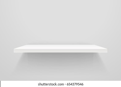White empty shelf on white wall. Vector mockup