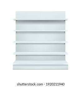 White empty shelf store mockup. Vector illustration design.