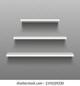 White empty shelves. Blank bookshelves. Simplicity store interior, retail supermarket showcase shop ledge or merchandise racks, shopping rack 3D display. Isolated realistic vector illustration