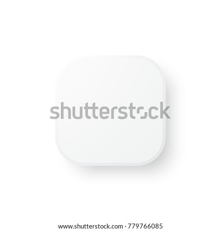 White Empty Square Button Rounded Corners Stock Vector Royalty Free