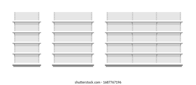 White empty store shelves. Flat Style. isolated on white background
