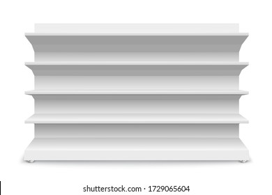 White empty store shelves isolated on a white background. Shelving for retail. Showcase template. Vector illustration