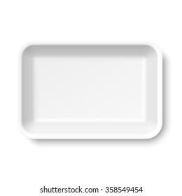 White empty styrofoam food tray vector illustration