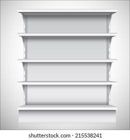 White empty supermarket retail store shelves isolated on white background vector illustration