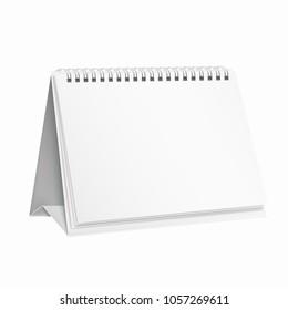 White, empty template, mockup calendar notebook for design.