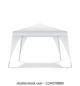 White empty tent for outdoor exhibition, isolated, vector illustration