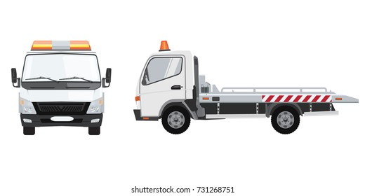 White empty tow truck with front and side view. Flat vector with solid color design.
