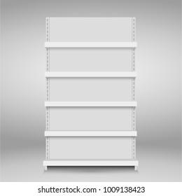White empty vector store shelves. Retail shelf. Supermarket stand