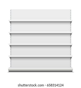 White empty vector store shelves. Showcase display. Retail shelf rack.