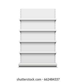 White empty vector store shelves.