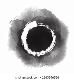 White Enso Zen Circle on Black Ink Drops Isolated on White background - Vector Illustration
