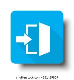 White Enter icon on blue web button