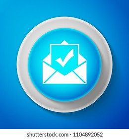 White Envelope with document and check mark icon isolated on blue background. Successful e-mail delivery, email delivery confirmation. Circle blue button with white line. Vector Illustration