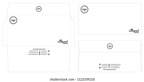 white envelope template mockup with dieline eps10