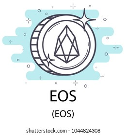 White eos cryptocurrency coin isolated on white background