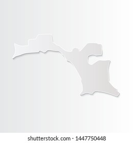 White Esperanto map-countries. Vector paper map of Esperanto on a gray background. Vector illustration.