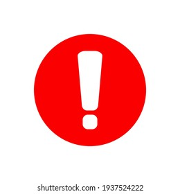 white exclamation mark sign on red circle isolated on white background. vector illustration