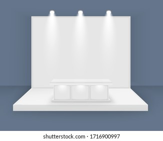 White exhibition stand, 3d blank booth template with lighting, with spotlights Front view Presentation event room display Vector isolated