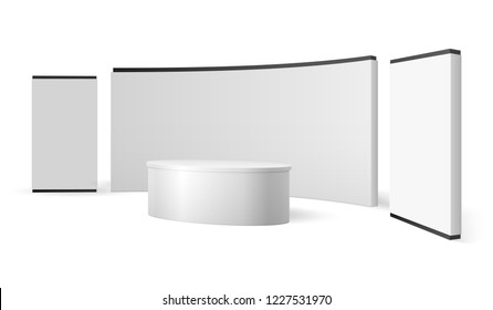 White exhibition stand. Blank trade show booth promotional display. Event panel vector 3d isolated template