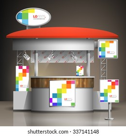 White exhibition stand design with color square pattern. Booth template. Corporate identity