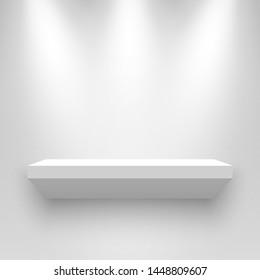 White exhibition stand, illuminated by spotlights. Pedestal. Shelf. Vector illustration.