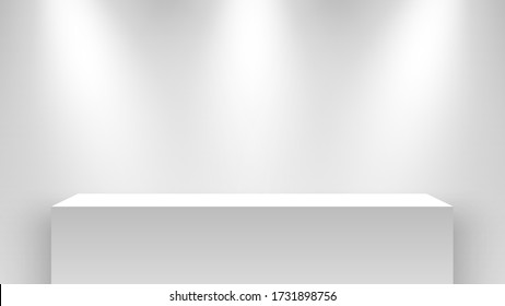 White exhibition stand, illuminated by spotlights. Pedestal. Vector illustration.