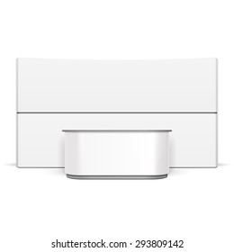 White Exhibition Stand POS POI Blank Empty Retail Stand Stall Bar Display With Roof, Canopy. On White Background Isolated. Mock Up Template Ready For Your Design. Product Packing Vector EPS10