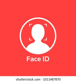 white face id icon on red background. flat simple style trend modern logotype graphic design element. concept of facial scanning like recognize person or futuristic virtual reality access sign