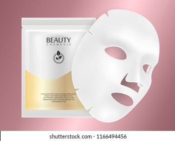 White Facial mask sheet with individual collagen sachet on rose gold gradient background. Skincare collagen hydration moisturizer. Face skincare premium ad design template. Vector beauty concept.