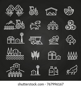 White farm icons and concepts on blackboard. Farm agriculture, village and tractor, field harvest illustration