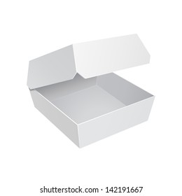 White Fast Food Carton Plastic Container For Burger Sandwich. Ready For Your Design. Product Packing Vector EPS10