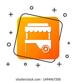 White Fast street food cart with awning icon isolated on white background. Urban kiosk. Orange square button. Vector Illustration